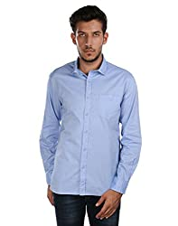 Oxemberg Men's Solid Casual 100% Cotton Sky Blue Shirt