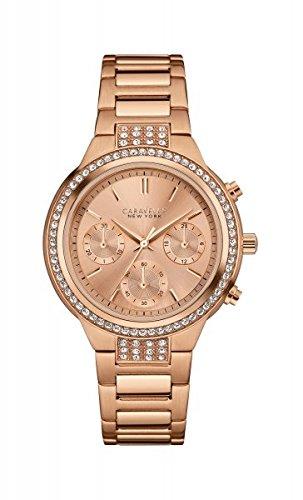 Damas-reloj Caravelle New York un análogo de cuarzo tamaño, rosa palo, rosado