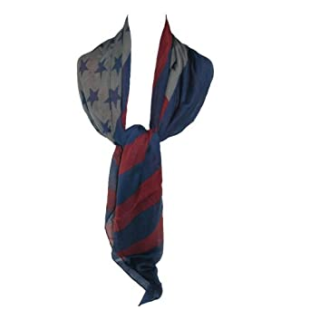 David & Young Womens Long American Flag Square Scarf
