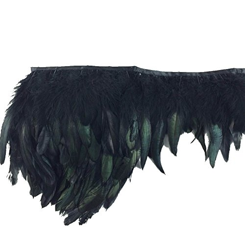 "Sowder Rooster Hackle Feather Fringe Trim 5-7"" in Width Pack of 5 Yards(black)"