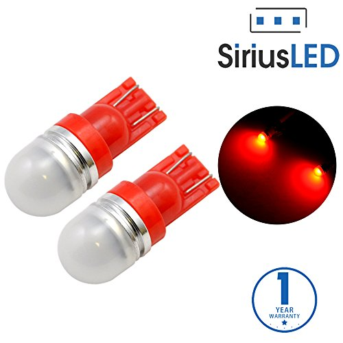 SiriusLED Super Bright 1 W LED Bulbs with 360 Degree Projection for Car Interior Lights Gauge Instrument Panel Dome Map Side Marker Door Courtesy License Plate T10 168 192 194 2825 W5W Red (Light Honda Accord 94 Coupe compare prices)