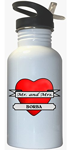 Mr. and Mrs. Borba - White Stainless Steel Water Bottle Straw Top (Borba Water compare prices)