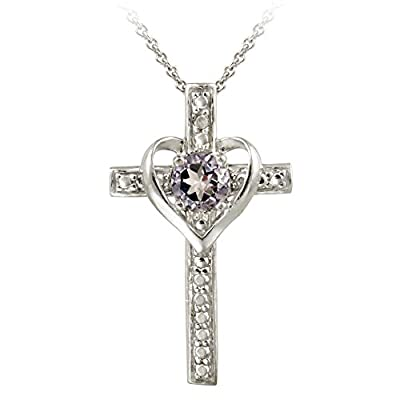 Sterling Silver Gemstone & Diamond Accent Cross Heart Necklace