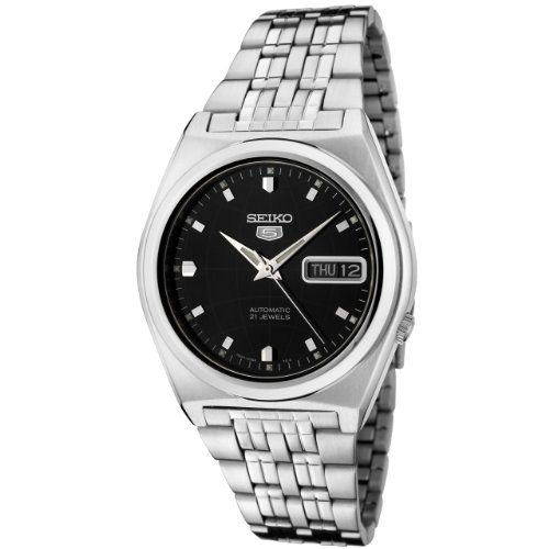 Seiko Men's 5 Automatic SNK669K Silver Stainless-Steel Automatic Watch with Black Dial
