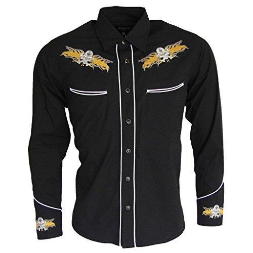 relco-black-yellow-rockabilly-biker-western-skull-flamed-embroidered-shirt-men-black-large