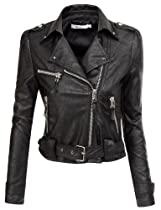 Doublju Motorcycle Jacket With Belt Strap BLACK (US-S)