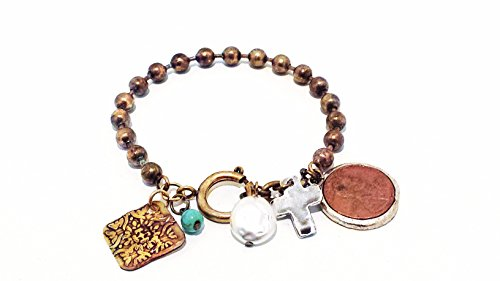 Good Luck Charm Bracelet - Lucky Penny - Cross - Etched Bullet Casing - Turquoise - Pearl - Girls Teens Women (Bullet Charm Bracelet compare prices)