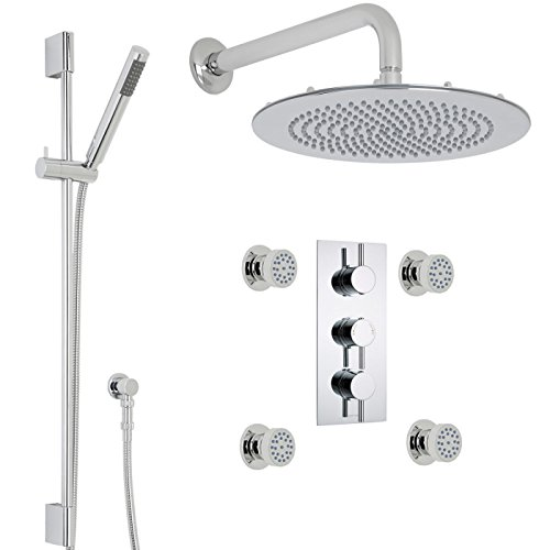 Hudson Reed Quest Thermostatic Shower System 3 Outlet Set With 12 Rain  Ceiling Head Slide Rail