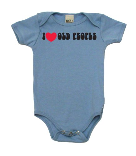 I Heart Old People On Infant Onesie, 6-12 Mo, Light Blue