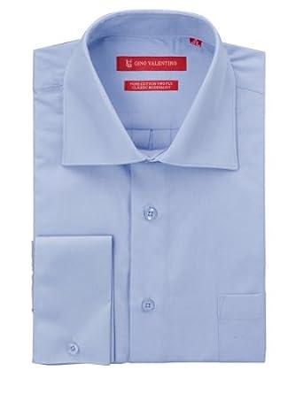 "Gino Valentino Men's Dress Shirt Pure 2 Ply Cotton Spread Collar French Cuff (14.5"" Neck 32/33 Sleeve, Medium Blue)"