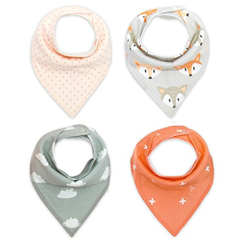 Baby Bandana Drool Bibs Baby Gift Set Unisex 4-Pack Super Absorbent Cotton with Snaps for Boys & Girls