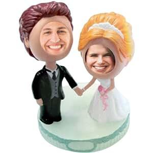 bride and groom bobble head wedding cake topper kitchen dining. Black Bedroom Furniture Sets. Home Design Ideas