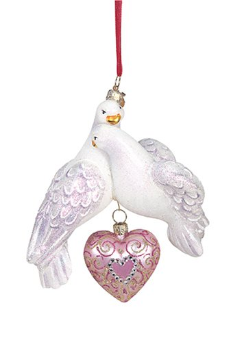 Reed & Barton Blown-Glass Holiday Ornament, Two Turtle Doves