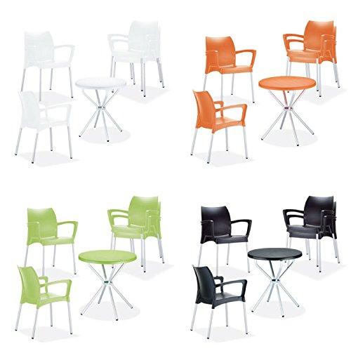 CLP Conjunto muebles de jardín GOYA - 4 sillas de jardín apilables Dolce + 1 mesa redonda Ø 70 cm, ligero, robusto, resistente a la intemperie blanco