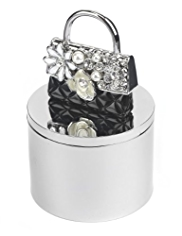 M&S Collection Diamanté & Pearl Effect Encrusted Bag Trinket Box