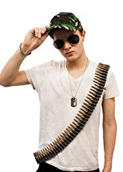 Army Set Fancy Dress Costume Aviator Glasses + Camouflage Cap + Bullet Belt + Dog Tags Camo Military Soldier Mens Ladies
