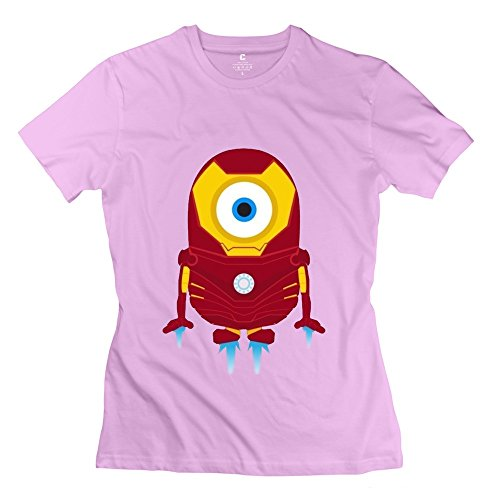 Woman's Cool Funny Minions Iron Man Cotton T-shirt