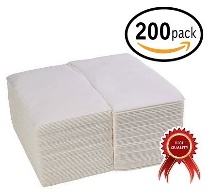 (200-Pack) Linen-Feel Guest Towels / Disposable Cloth-Like Tissue Paper Hand Napkins, White Guest Towel