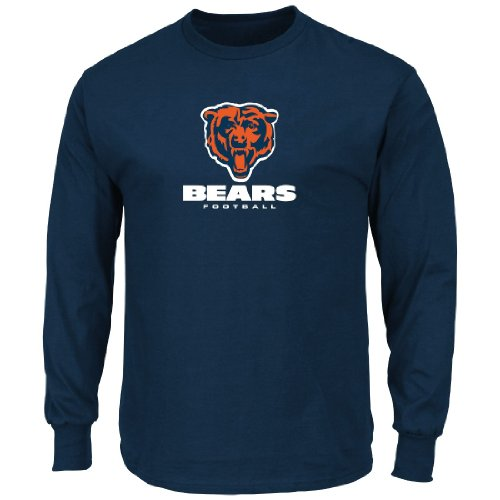 Chicago Bears Majestic NFL Critical Victory VIII Long Sleeve T-Shirt Camicia - Navy