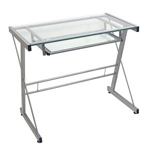 Amazon.com - Glass Metal Silver Computer Desk - Office Desks