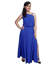 Tryfa Women's Maxi Dress (TFDRGW000072-L_Blue_Large)