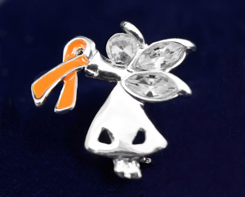 Orange Ribbon Pin-Angel By My Side (27 Pins)