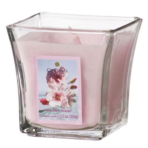 Colonial Candle Pink Cherry Blossom 4 oz Scented Square Flared Jar