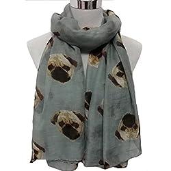 Koly® Women's Lady Long Cute Pug Dog Print Scarf Wraps Shawl Soft Scarves