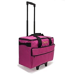 "Luova 19"" 3 Piece Rolling Sewing Machine Trolley Set in Pink by Luova"