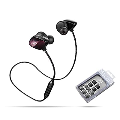 Macaw T800 Sport Wireless Bluetooth Earphone with apt-X/Mic Noise Cancelling Earbuds Sweatproof High Fidelity V4.1 Running Gym In-Ear Headsets for IOS, Android Cell Phone and Bluetooth Devices-Get Free Silicon&Memory Foam Tips