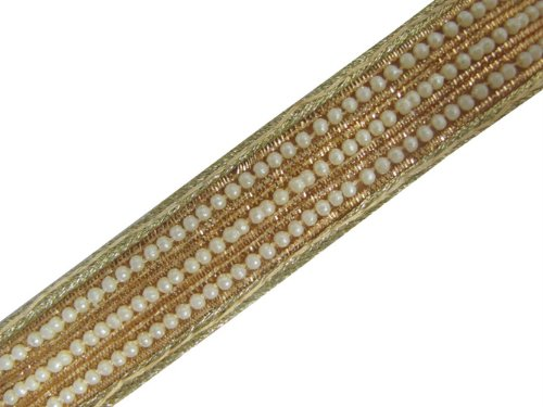 2.5Y Bridal Trim Pearl Bead Light Gold Bullion Ribbon