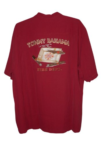Tommy bahama embroidered fire department silk camp shirt for Tommy bahama embroidered silk camp shirt