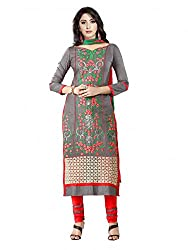 SR Women's Cotton Unstitched Dress Material (grey)