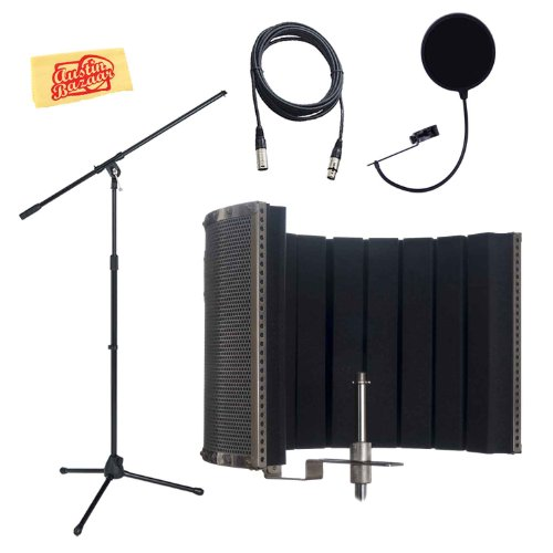Cad As32 Acousti-Shield 16-Gauge Stand-Mounted Microphone Acoustic Enclosure Bundle With Mic Stand, Mic Cable, Pop Filter, And Polishing Cloth
