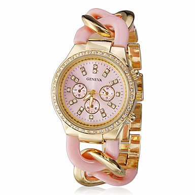 Elegant Women Geneva Brand Diamonds Gold Dial Stainless Steel Chain Analog Wristwatch Ladies Dress Rhinestones Bracelet Watch Christmas Gift - Pink front-796857
