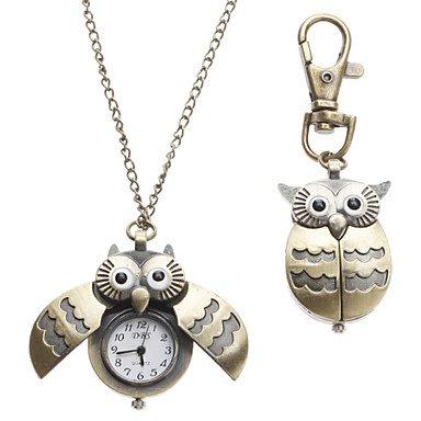 Meno Unisex Feather Owl Style lega analogico al quarzo portachiavi orologio collana (Bronzo) ( Colore : Bronze , Taglia : Taglia unica-Collana con orologio )