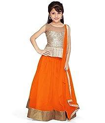 Beautiful Net Partywear Kids Orange Lehenga Choli (32 inches , 9-10 Years)