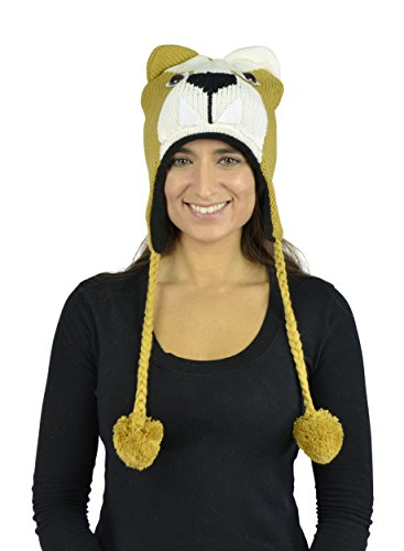 [Belle Donne - Unisex Winter Knit Puppy Animal Hats With Pom Pom - Mustard] (Pork Pie Hat For Sale)