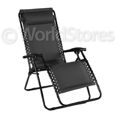 Relaxer Folding Chair - Multi-Position Reclining - Steel Frame - Padded - Black