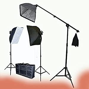Video Photography Studio light Lighting 2275 Watt Digital Photography Studio Video Light Chromakey Chroma Key Continuous Softbox Light Lighting Kit Hair light BOOM Stand Kit Set with Carrying Case - 2 Light stands, 2 Softboxes, 1 Boom Kit by ePhoto VL9026SB
