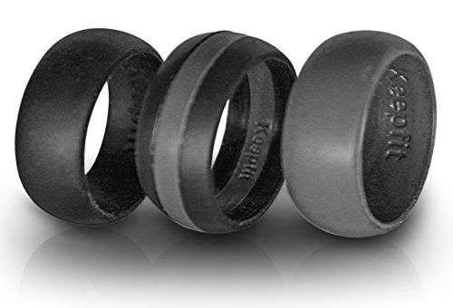 3 Silicone Wedding Ring Silicone Wedding Band for Men Crossfit Climbing and Outdoors (Grey Stipe, 9)