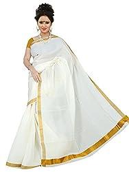 Brindavan Kerala Cotton Single Bold Stripe Jari Pallu Plain Party Wear Saree (19893206)