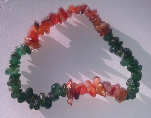 Hand Made Bracelet with Semi Precious Stone - Carnelian and Aventurine stones - Beautiful - Tight Fit - Stretchable