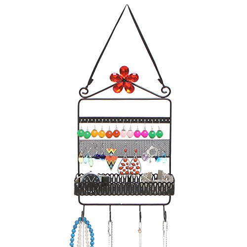 MyGift Metal Earring Jewelry Organizer Rack with 4 Hooks and Storage Basket, Black (Earring Rack Wall compare prices)