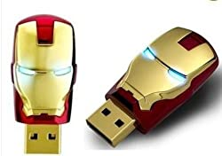 Wholesales New Avengers Gold Red Iron Man LED Flash Genuine 4GB/8GB/16GB/32GB USB Flash 2.0 Memory Drive Stick Pen/Thumb(8GB)