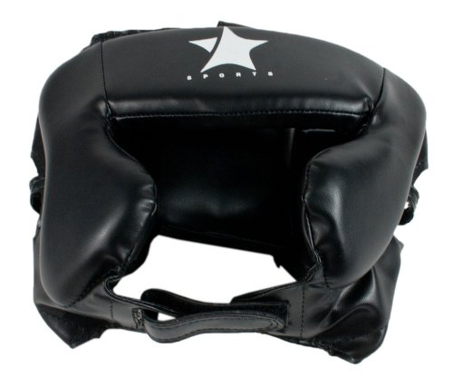 Starlite Professional Boxing, Muay Thai & Martial Arts Head Guard Head Protector With Full Cheek Padding Black PU Mudium