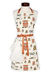 Lynne's Whim Hope Owl USA made Apron (Cream)
