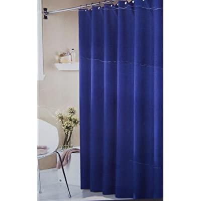 royal blue waffle weave fabric shower curtain