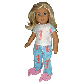 Seahorse Pajamas and Slippers. Fits American Girl Doll and Other 18