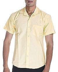 Venga Men's Button Front Shirt (RH003, Yellow, XL)